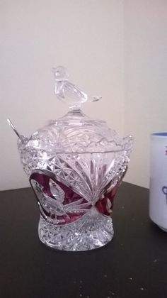 HOFBAUER Red Bird Byrde Lead Crystal bowl with spoon and lid