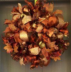 Fall Deco Mesh Wreath by CreativeDesignsJMH on Etsy https://www.etsy.com/listing/199595211/fall-deco-mesh-wreath