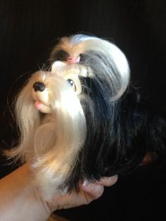 VINTAGE 1989 HASBRO SWEETIE PUPS SHIH TZU Black White Adult Owned My Little Pony