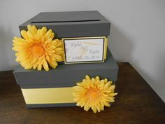 Gray and Yellow Wedding Card Box, Yellow Gerbera Daisy
