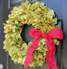 green burlap tied rag wreath