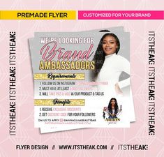 Premade Brand Ambassadors Flyer – Customized For Your Brand – Hair Extensions Lashes Lash Extensions Eyelash Shop Bundles Fashion Boutique Design Brochure, Flyer Design, Logo Design, Graphic Design, Business Sales, Business Branding, Business Inspiration, Business Ideas, Design Inspiration