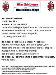 MODALITA' ACQUISTO BIGLIETTI MILAN-JUVENTUS