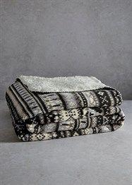 Printed Fairisle Coral Fleece Throw (180cm x 150cm)