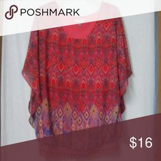 Roz and Ali women plus size 1x blouse Sheer kimono style sleeve, lined roz and Ali Tops Blouses