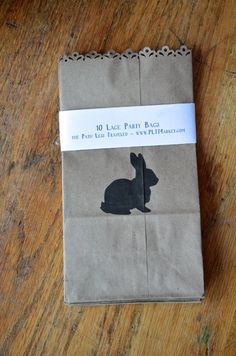 Bunny Rabbit Lace Edged Paper Bags  kraft by thePathLessTraveled, $3.00