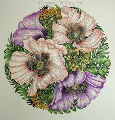 Coloured by Morena Vajak #floribunda #leiladuly #colouringbook #colouredpencils #floral #flowers #fabercastell #polychromos #prismacolor #mycreativeescape
