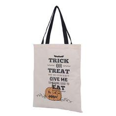 Cotton Canvas Shoulder Bag Print Pumpkin Lantern Trick or Treat Halloween HK07S#…