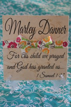 Beautiful Baby Gift- Personalized Baby Name Decorative Tile. $15.00, via Etsy.