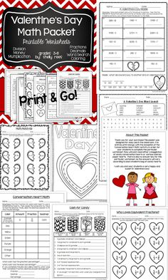 Valentine's Day Math - Print and Go Packet for Grades 3-6. Fun, printable math worksheets all centered on Valentine's Day! Money, Multiplication, Division, Fractions, Percentages, and More! Word search and coloring sheet included. My class will love this!