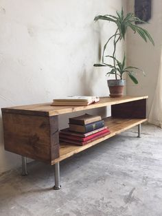 Locksbrook Rustic Industrial Vintage Side Table/ Coffee Table/ TV Stand On Stainless Steel Legs