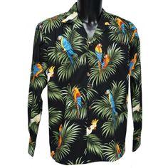 chemise hawaienne ...LONG Black Parrots
