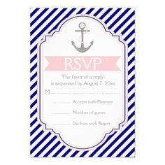 Navy blue, pink anchor nautical wedding RSVP Invites