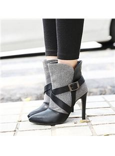 Fabulous Contrast Color Peep Toe Buckle Stiletto Ankle Boots