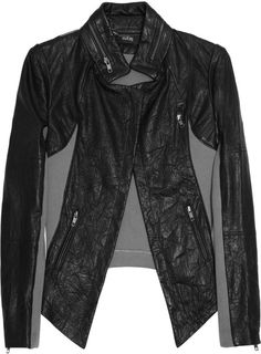 Contrast Textured-leather Jacket - Lyst