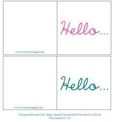 free printable mini cards