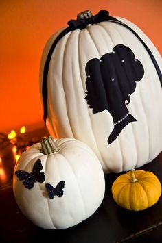 pretty pumpkins - I made a silhouette pumpkin in 2011 inspired by this pin and it's my favorite! - http://www.pinterest.com/julieannshahin