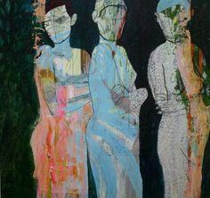 """The Models,"" original figurative painting by artist Jacqueline van der Plaat (Netherlands) available at Saatchi Art #SaatchiArt"