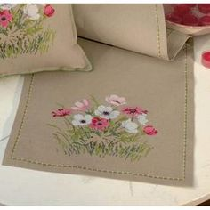 Eva Rosenstand® Pink Flowers Table Runner Counted Cross-Stitch Kit