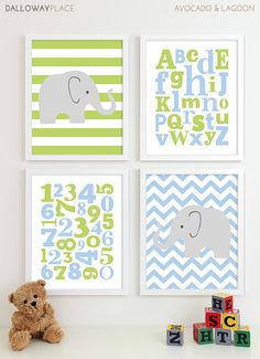 ABC Alphabet Nursery Art Print, Baby Boy Nursery Art Boys Nursery, Baby Boy Art Room Kids Wall Art, Chevron Elephant Nursery Prints - 8x10