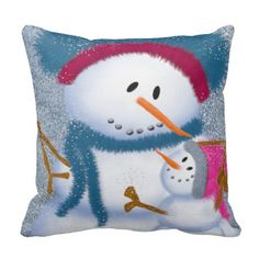 The Snow Momma And Snow Girl Throw Pillow.  Designed by #OneArtsyMomma  $33.95 #Christmasdecor #Christmas