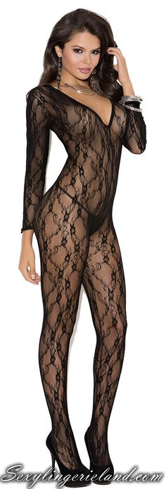 EM-1619 Lace bodystocking  $17.00  Deep V long sleeve black bodystocking with open crotch. Crotchless lace bodystocking enhances your curves with stylish ornaments.   #bodystocking #overall #fashion #outfit #catsuit #shopping #shop #pretty #amazing #beauty #nice #style #swag #elegant #erotic #flirty #sexy #deal #clothing #clothing
