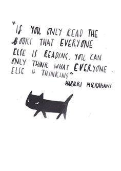 Bookish illustration by dick vincent - Murakami quote