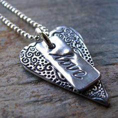 Silver Love Heart Necklace PMC Artisan Silver by staciejewelry, $55.00