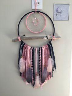 Pink & Navy driftwood dream catcher Dream catcher wall hanging | Etsy