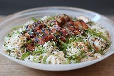 The Gourmet Kitchen - Japanese - Chilled somen noodle salad with ginger and miso BBQ chicken Asian Recipes, Ethnic Recipes, Noodle Salad, Food Obsession, Appetizer Recipes, Appetizers, Bbq Chicken, Food Inspiration, Noodles