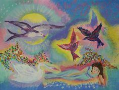 Tekenmaar volwasssenen: Schilderij geïnspireerd op het werk van de schilder Chagall.