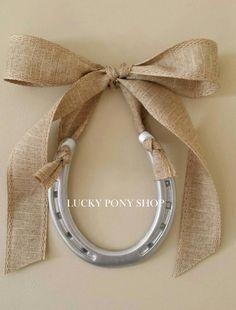 Horseshoe,Wedding Day Gift for her,horseshoe w Natural Linen Bow-Free Custom Tag, horse shoe art,horseshoe gift-equestrian decor