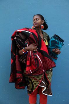 Photographer Niel Vosloo, Model Sibu Jili, Dress by Thabo Makhetha,Blankets available from Shnu Tribal & Basotho Blankets African Fashion Designers, African Inspired Fashion, African Print Fashion, African Prints, African Patterns, Ankara Fashion, African Textiles, African Fabric, African Dress