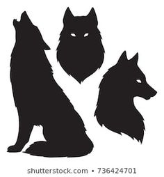 Set of wolf silhouettes isolated. Sticker, print or tattoo design vector illustration. Set of wolf silhouettes isolated. Sticker, print or tattoo design vector illustration. Wolf Silhouette, Silhouette Tattoos, Silhouette Images, Stencil Lobo, Wolf Stencil, Wolf Outline, Art Sketches, Art Drawings, Tribal Wolf