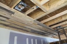 wood ceilings | Pallet Ceiling Installation | urban home INDY