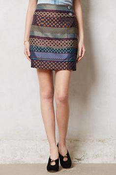 Anthropologie Audra Pencil Skirt in Multicolor (BROWN MOTIF)