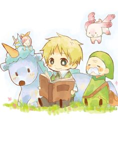 Hetalia England, cute chibi England is reading to his magical friends
