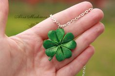 Lucky clover from polymer clay by Krinna.deviantart.com on @deviantART