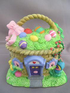 Spring Easter Village Bunny Town Basket House Lighted Building Light Up No Cord  #Unbranded