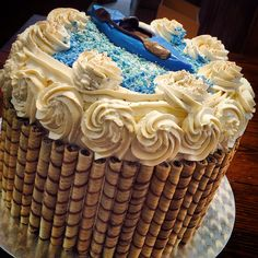 Tiramisu cake with fondant kayak decoration.   4 layers with fluffy Kahlua and mascarpone filling!  #TheCakesOfCasaLatasa