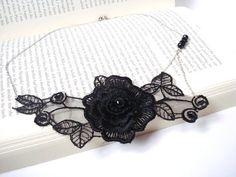 Black Lace Necklace Women accessories  3D Flower by bytugce, $24.00