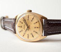 Mechanical watch Raketa mens wrist watch gold plated by SovietEra, $55.00