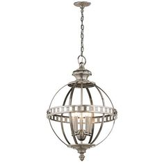Halleron Classic Pewter Six Light Pendant Globe Pendant Lighting Ceiling Lighting
