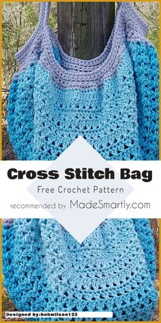 Cross Stitch Bag - Free Crochet Pattern #crochetpattern #crochetbag #freecrochetpatterns #crossstitch