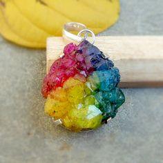 Rainbow drusy pendant, rough gemstone pendant necklace, Silver prong setting pendant jewelry, Multicolor Druzy silver pendant, Drusy pendant