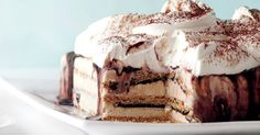 We will all scream for ice-cream this summer with this melt-in-the-mouth ice-cream cake treat from Martha Stewart. Ice Cream Desserts, Frozen Desserts, Frozen Treats, Just Desserts, Delicious Desserts, Yummy Food, Xmas Food, Christmas Desserts, Christmas Ice Cream
