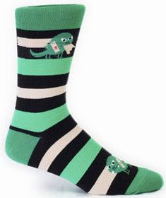 Monsters on socks?  Scary!  Green and black striped crew socks being eaten by a little angry monster.  Fits men's shoe size 8-12.5.