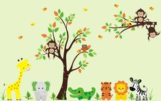 Jungle Animal Wall Decals-Jungle Animal Wall Decals with Tree Giraffe Monkey Elephant Lion, boys room wall decals stickers, girls boys room wall decor, nursery room decor, baby room wall decor   Bebe Diva