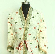 Short kimono cardigan, kimono, bohemian Kimono, Women's clothing, Sari kimono, Christmas Gift For Her, Printed Kimono Jacket #MKS 369 Kimono Cardigan, Kimono Jacket, Kimono Dress, Funky Fashion, Indian Fashion, Women's Fashion, Kimono Beach Cover Up, Bohemian Kimono, Short Kimono