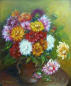 Dalie - Maria Roszkowska - obraz olejny